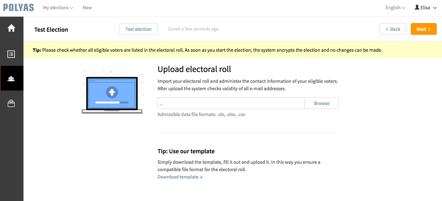 Upload your electoral roll to POLYAS online voting system