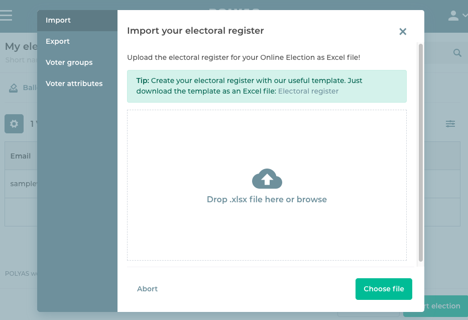 Upload your electoral roll in the online voting manager