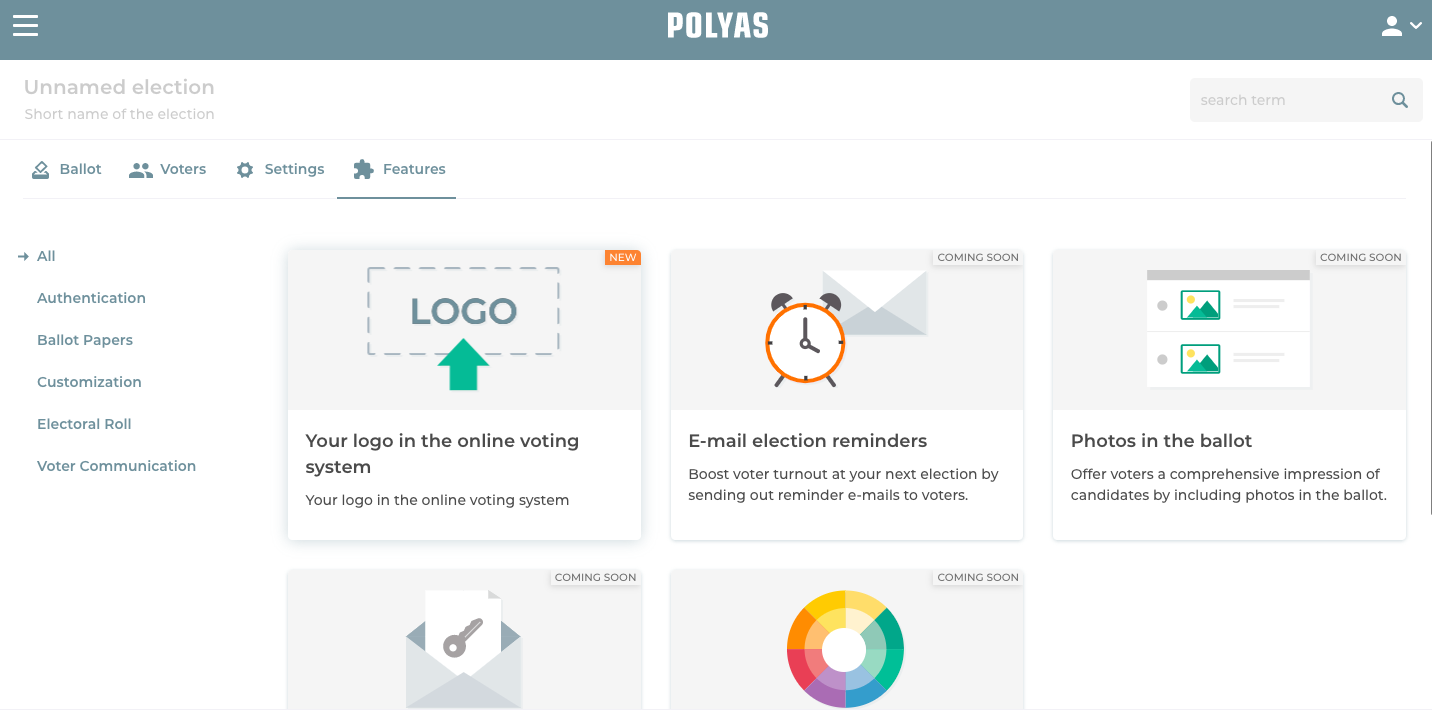Access features in the POLYAS online voting manager